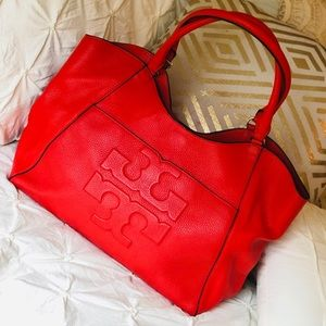 Tory Burch Bombé-T Leather Tote in Poppy